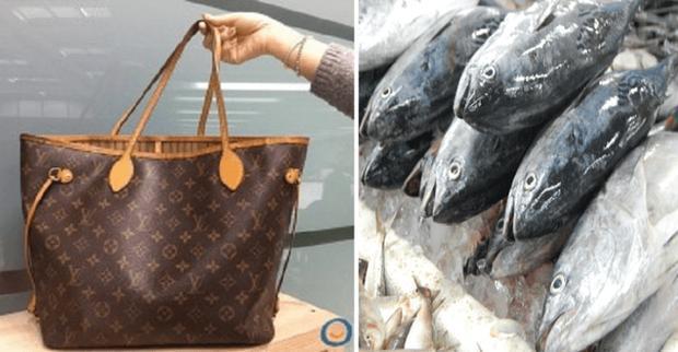 Bà của cô gái đem túi xách cháu tặng đi chợ đựng thịt cá - Ảnh minh họa