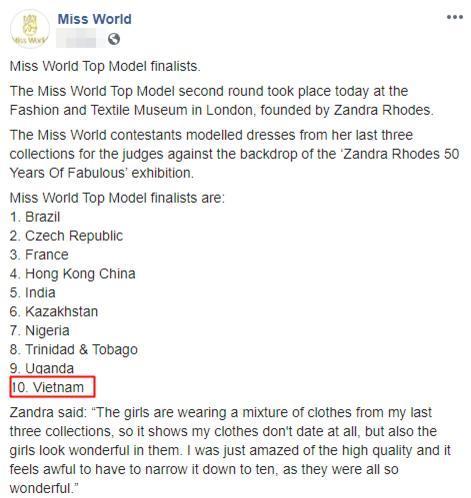 Danh sách Top 10 thí sinh được gọi tên ở phần thi Top Model.