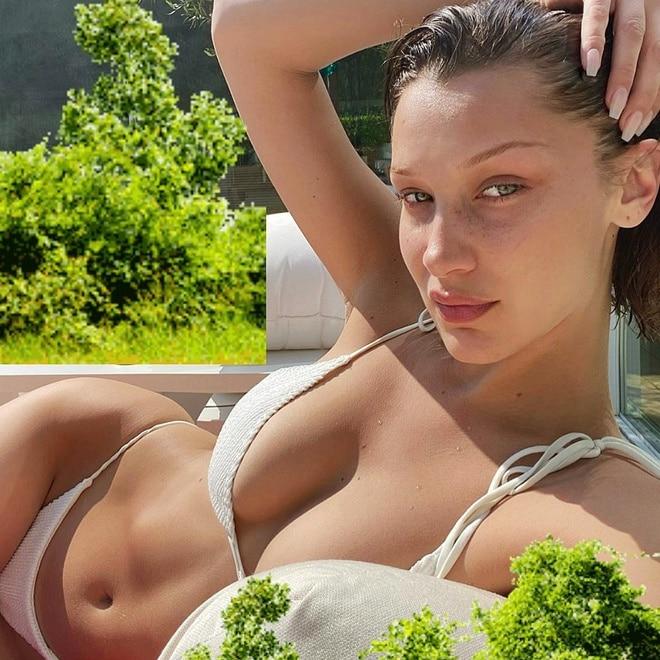 Bella Hadid liên tục update hình ảnh cô mặc bikini phơi nắng ở vườn nhà trong mùa dịch khoe vòng một trễ nải trong bộ bikini