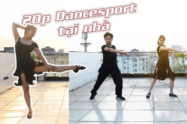 Thời gian giãn cách xã hội, Khánh Thi tích cực tập luyện ép cân cùng chồng trên sân thượng.