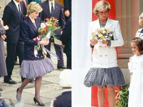 Vào tháng 2 năm 1987, bà đến Bồ Đào Nha trong một chiếc váy phồng, bên ngoài khoác áo vest đen. Và vào tháng 5, bà xuất hiện trên thảm đỏ tại Liên hoan phim Cannes trong cùng một bộ trang phục nhưng với một chiếc áo khoác màu trắng.