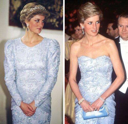Lần đầu tiên Công nương Diana mặc chiếc váy này là vào năm 1987. Hai năm sau, bà mặc đúng chiếc váy đó nhưng đã bỏ đi phần tay áo.