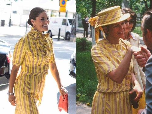 Năm 2017, con gái Victoria của Nữ hoàng Silvia mặc lại chiếc váy kẻ này của mẹ năm 1978.