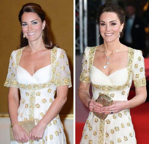 Kate từng mặc chiếc váy này ở Malaysia vào năm 2012. Đến năm 2020, cô mặc lại nó đến sự kiện BAFTA với phần tay áo được bóp nhỏ và phụ kiện khác nhau.
