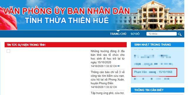 Tên anh H. Cổng thông tin điện tử UBND tỉnh Thừa Thiên - Huế.