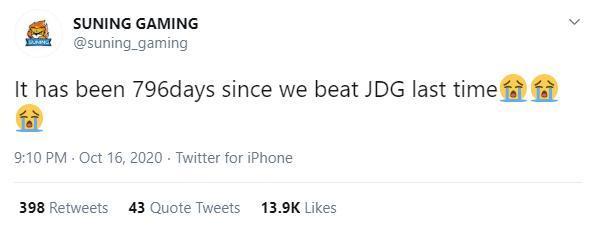 Suning đăng tweet sau khi đánh bại JD Gaming: 'Đã 796 ngày kể từ lần cuối cùng chúng tôi đánh bại JDG'.