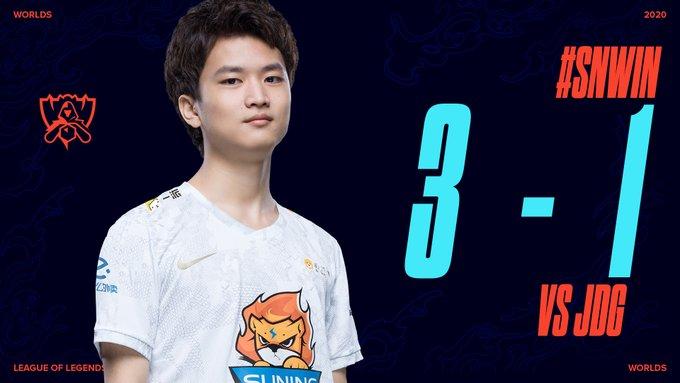 Suning giành chiến thắng 3-1 trước JD Gaming tại tứ kết CKTG 2020.
