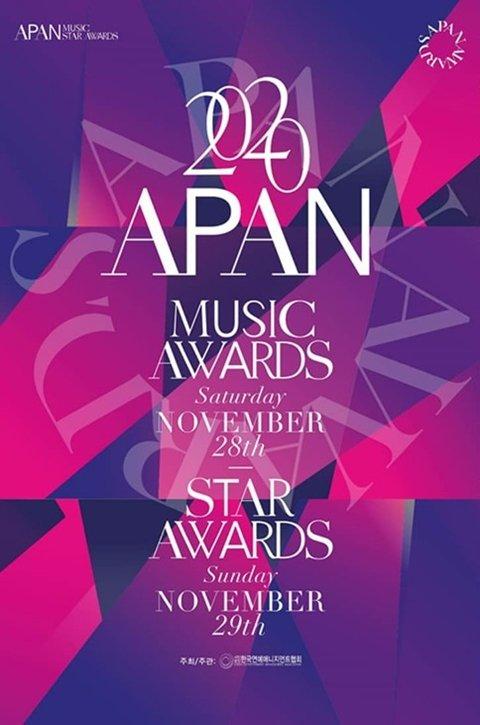 APAN Star Awards 2020 sẽ được tổ chức trong 2 ngày. Ngày 28/11 sẽ dành riêng cho âm nhạc và ngày 29/11 là dành cho phim ảnh.
