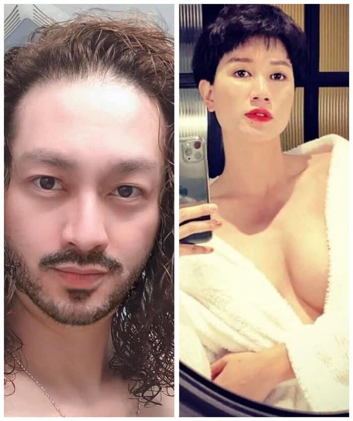 Cựu người mẫu không khỏi hốt hoảng trước mái tóc dài uốc xoăn của chồng mình.