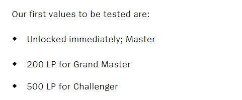 Thử nghiệm đầu tiên về số điểm lên hạng cho rank Cao Thủ trở lên: 'Bạn sẽ lên Cao Thủ ngay khi đủ điều kiện, đạt 200 điểm xếp hạng để lên Đại Cao Thủ và 500 điểm để tiến tới Thách Đấu'