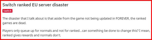 Chế độ đấu rank trên hệ Nintendo Switch được coi là đã chết.
