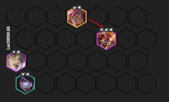 Nếu xếp đội hình như này, Sett sẽ dùng kỹ năng hướng về phía bên phải và chủ lực của bạn ở bên trái được an toàn