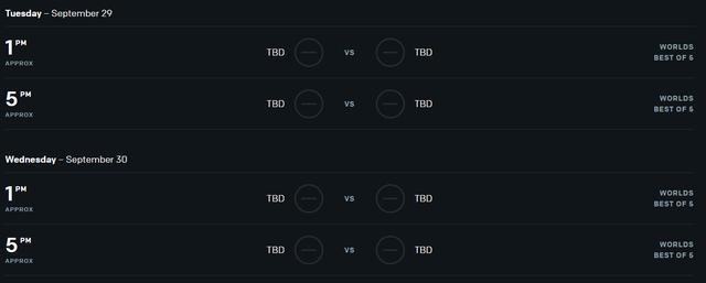 Vòng loại trực tiếp sẽ diễn ra trong 2 ngày 29 và 30/9, trận đấu đầu tiên bắt đầu vào lúc 13h00, trận đấu thứ hai dự kiến sẽ thi đấu từ lúc 17h00 (giờ Việt Nam)
