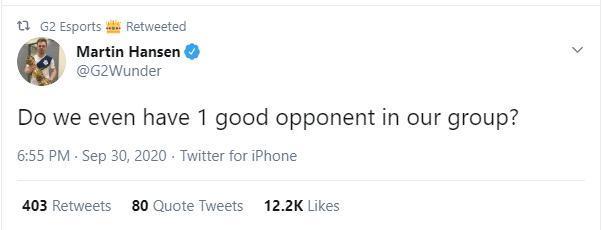 G2 Esports Wunder đăng tweet sau khi có kết quả chia bảng: 'Chúng ta còn không có nổi 1 đối thủ xứng tầm ở vòng bảng luôn sao?'