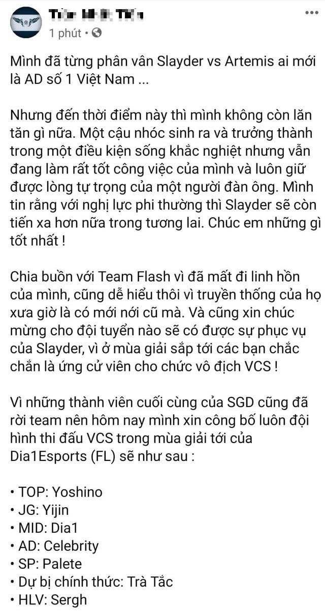 Chuyển nhượng VCS: Dia1 sẽ gia nhập Team Flash? 1