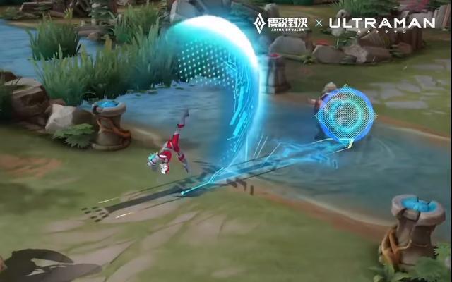 Ryoma Ultraman với hiệu ứng sắc xanh nổi bật.