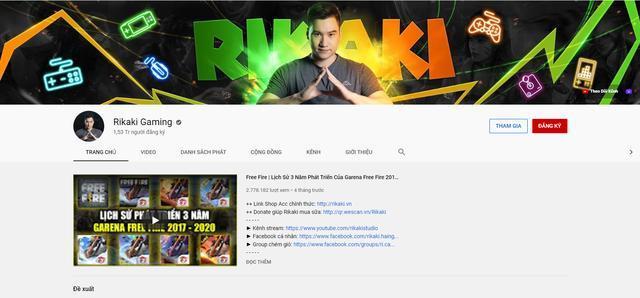 Channel Rikari Gaming trước khi bị report
