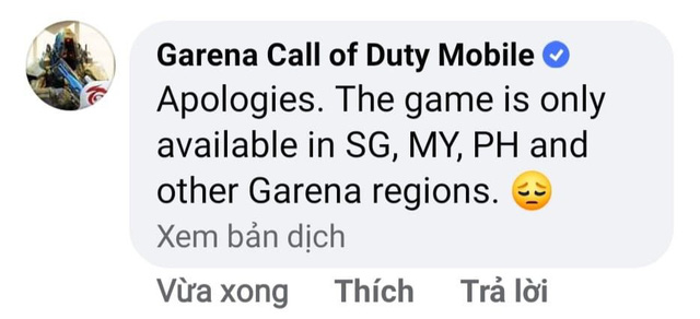'Xin thứ lỗi, tựa game này chỉ mở tại Singapore, Myanmar và Philippines và những khu vực khác thuộc thẩm quyền phát hành của Garena'