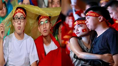 Hà Nội đổ mưa, nhưng người hâm mộ Olympic Việt Nam thì cuồng nhiệt và 'ngọt ngào' lắm