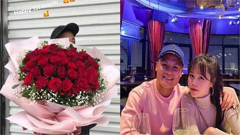 Kỷ niệm 1 tháng hẹn hò, Quang Hải tặng bó hồng 'siêu to khổng lồ' cho Huỳnh Anh