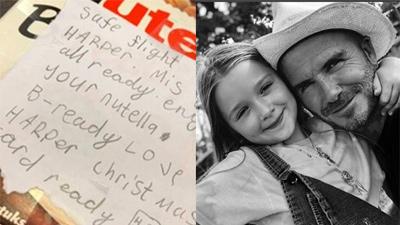 Tan chảy trước lá thư viết tay mà 'tiểu công chúa' Harper bí mật gửi cho bố David Beckham