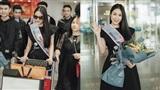 Tuyết Nga rạng rỡ tại sân bay ngày trở về sau khi đăng quang Hoa hậu Áo dài