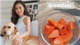 Ăn đu đủ vào bữa sáng như Hà Tăng hoặc tại thời điểm này sẽ giúp chị em giảm cân, giữ dáng thần sầu