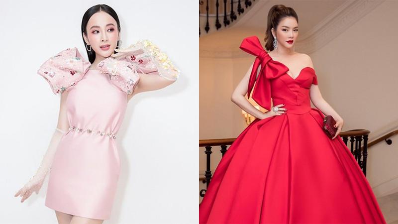 Lý Nhã Kỳ, Angela Phương Trinh mê mốt váy nơ siêu to khổng lồ để 'chặt đẹp' thảm đỏ