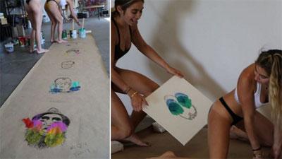 Cặp chị em song sinh kiếm bộn tiền nhờ vẽ tranh bằng mông