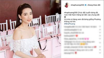 Nhã Phương đăng ảnh cổ vũ đội tuyển Việt Nam nhưng cư dân mạng lại phát hiện chi tiết thú vị này