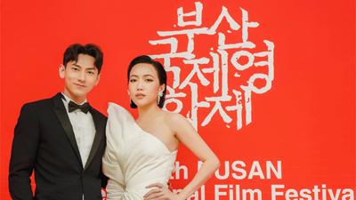 Isaac, Diệu Nhi dính như sam trên thảm đỏ Liên hoan phim Busan Hàn Quốc