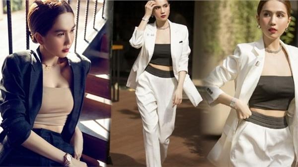 Ngọc Trinh đổi style với suit nửa kín nửa hở, fan khen nức nở vừa đẹp vừa sang