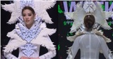 Khánh Vân lộ 'vật thể lạ' khi diện áo dài hoành tráng, catwalk uy nghiêm