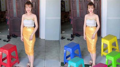 Em gái váy vàng nhờ các anh chỉnh ảnh xóa chiếc ghế đỏ bên cạnh và cái kết cạn lời
