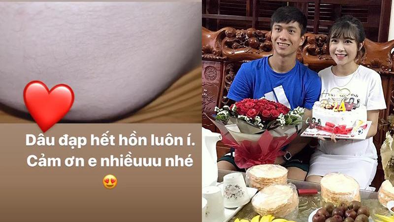 Khoe video em bé đạp 'hết hồn', vợ Văn Đức nói đùa với fan: 'Thị Nở múa hoài không cho ngủ'