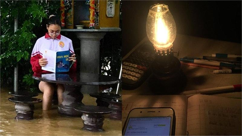 Học sinh miền Trung mùa mưa lũ: Mất điện cả tuần, chiếc đèn dầu trở thành vật cứu cánh