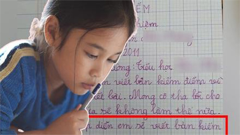 Không viết bài phải làm bản kiểm điểm, cô bé lớp 3 đưa ra lời hứa khiến ai nấy phải thốt lên: Biểu hiện của sự lươn lẹo là đây!