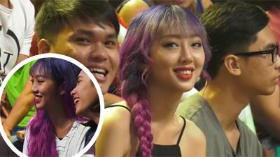 Dân mạng phát hiện 'cô gái tóc tím' chiếm sóngtruyền hình lấn át cả khách mờiở Giọng ải giọng ai