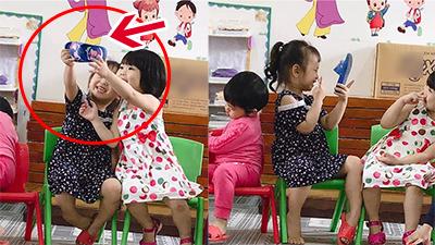 Chi tiết bất thường trong clip '2 em bé selfie' khiến dân mạng bàn luận rôm rả