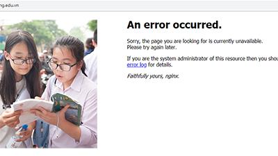 Website tra cứu điểm thi vào lớp 10 của Sở Giáo dục và Đào tạo Đà Nẵng không thể truy cập