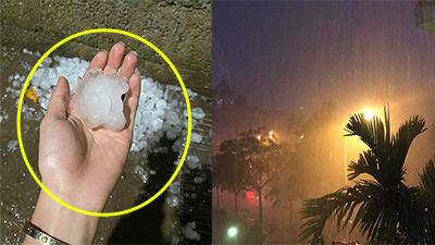 Loạt hiện tượng thời tiết lạ trước giao thừa: Bắc Kạn mưa đá thủng mái nhà, Hà Nội mưa gió lớn, Bắc Giang ngập lụt...