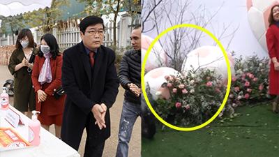 1200 khách được sát trùng trước khi vào lễ cưới Duy Mạnh, brackground với 3 quả bóng khổng lồ không khác gì thảm đỏ lễ trao giải