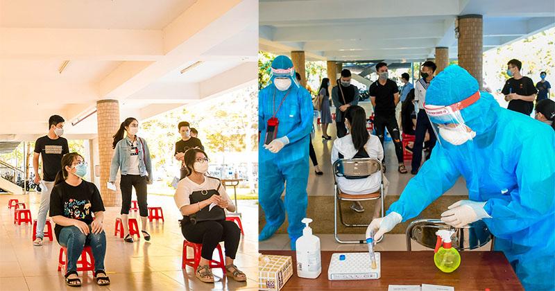 Cận cảnh lấy mẫu bệnh phẩm của sĩ tử Đà Nẵng trước kì thi Tốt nghiệp THPT 2020 đợt 2