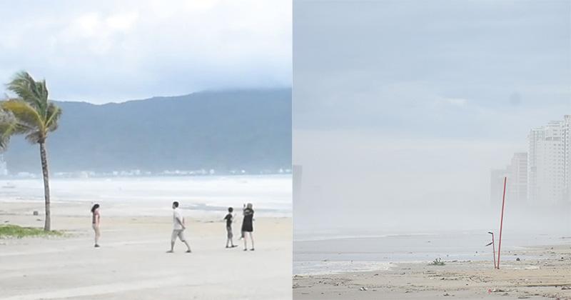Vừa ngớt bão, người dân ra biển Đà Nẵng chụp ảnh mặc sóng lớn vỗ dồn dập ngay sát bên