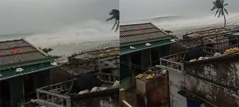 Clip: Bão số 9 áp sát, biển Quảng Ngãi dậy sóng cả bầu trời u ám