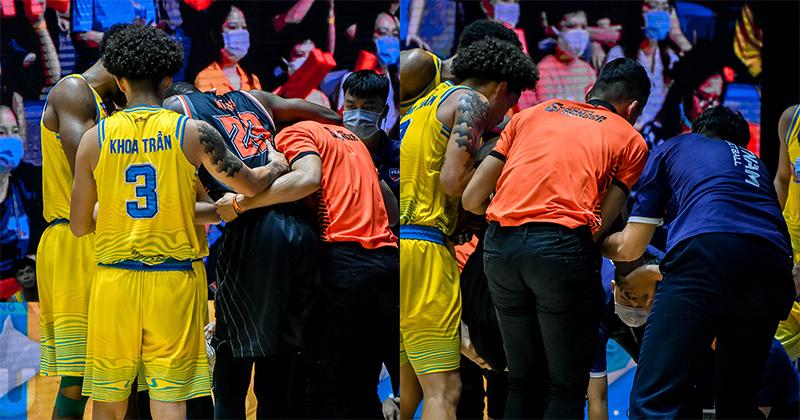 Đây chính là điều tuyệt vời ở VBA 2020: Cầu thủ đội nhà kề bên hỗ trợ khi thấy ngoại binh đội khách gặp chấn thương nặng!