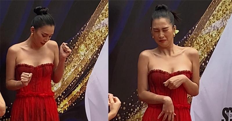 Tiểu Vy gặp tình huống bất ngờ trên thảm đỏ sự kiện cuộc thi nhan sắc ở Đà Nẵng
