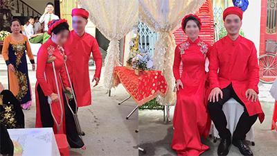 Cô dâu gãy chân chống nạng vẫn hạnh phúc cùng chú rể tiếp khách trong ngày cưới
