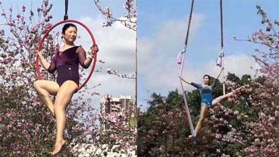 Khi chị em 'chơi lớn': Đầu tư hẳn cần cẩu để chụp ảnh với hoa ban, dân mạng không muốn trầm trồ cũng không được