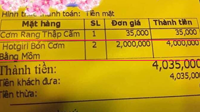 Tờ hóa đơn với dịch vụ 'lạ': 'Hot girl bón cơm bằng mồm' giá 2 triệu/nàng